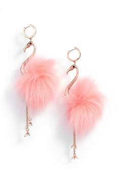 Flamingos dance atop your shoulders with every move on these impishly fun drop earrings plated in rose gold and fuzzed in faux fur. Kate Spade Earrings, Cute Earrings, Beautiful Earrings, Statement Earrings, Drop Earrings, Pink Earrings, Bridal Earrings, Cute Jewelry, Jewelry Accessories