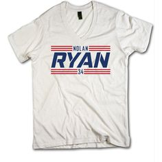Nolan Ryan Officially Licensed Baseball Hall of Fame Texas V-Neck Men's XS-2XL Nolan Ryan Texas Font