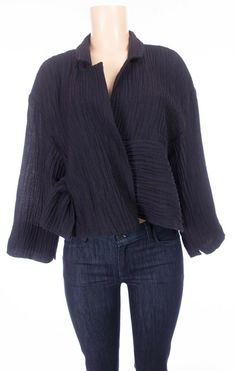 OSKA Lagenlook Jacket 1 US 6 8 S M Oversized Reg Blue Art Wool Blend #Oska #Blazer #Casual