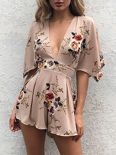 Vintage Floral Print Deep V Tied Open Back Pleated Romper