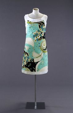 1966-70 blue, white & black cotton dress by retailer Rocha. Fashion Museum, UK.