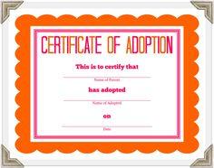 pet adoption certificates printable - Google Search