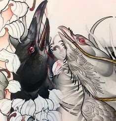 Best Ideas For Tattoo Traditional Bird Ink Tattoo Sketches, Tattoo Drawings, Body Art Tattoos, Tattoo Ink, Insect Tattoo, Raven Art, Raven Tattoo, Sleeve Tattoos For Women, Foto Art