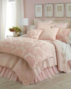 Shop luxury bedding sets and bedding collections at Horchow. Browse our incredible selection of full, queen, and king size luxury bedding sets. Pink Master Bedroom, Pink Bedroom Design, Pink Bedrooms, Shabby Chic Bedrooms, Master Bedroom Design, Cozy Bedroom, Dream Bedroom, Modern Bedroom, Bedroom Decor