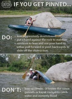 If you get pinned while canoeing or kayaking use these maneuvers to stay safe. Get tips like these in Iowa Outdoors magazine. If you get pinned while canoeing or kayaking use these maneuvers to stay safe. Get tips like these in Iowa Outdoors magazine. Canoe Trip, Canoe And Kayak, Kayak Fishing, Fishing Tips, Saltwater Fishing, Fishing Boats, Kayak Camping, Camping Survival, Outdoor Camping