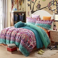 Teal Purple and Black Stripe and Bohemian ( BOHO ) Style Western Tribal Print Abstract Design Exotic Brushed Cotton Full Size Bedding Sets - EnjoyBedding.com