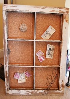old chippy window turned bulletin board (budget office makeover) via DebbieDoos