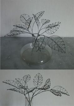 Concept Modeling For Metallic Sculpture : – Picture : – Description wire leaves -Read More – - Wire Crafts, Metal Crafts, Diy And Crafts, 3d Zeichenstift, Sculptures Sur Fil, Wire Sculptures, Boli 3d, Stylo 3d, Wire Flowers