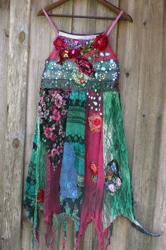 582ba42c1958be Boho pixie slip dress or tunic-- whimsy bohemian dress, embroidered,  vintage reworked