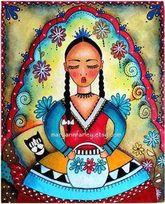 Mexican Girl Art Print Day of the Dead Art Girl by maryannfarley.