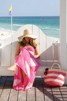pink, stripes, hat, maxi, yes♥