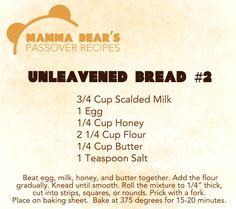 Passover / Feast of Unleavened Bread Recipe: Unleavened Bread 2