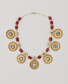 Saudi Arabian necklace with turquoise and gold. From the Najd region. | Dallas Museum of Art