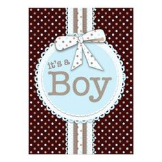 It's a Boy Ribbon & Bow Baby Shower Blue Dots 5x7 Paper Invitation Card