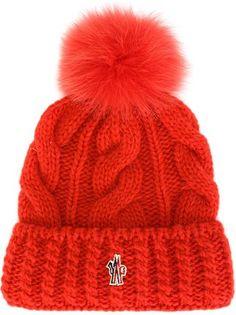 3a2040e33f0 Moncler Grenoble шапка вязки косичкой с помпоном Baker Boy Cap