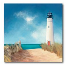 Blue Sky Lighthouse Canvas Wall Art - 16W x 16H in. - WEB-NC135
