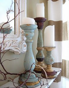 Re-paint old candlesticks with chalk paint for a fresh look! Larissa Hill Designs: Candlestick Makeover love this color combo Do It Yourself Upcycling, Vibeke Design, Coastal Decor, Chalk Paint, Vignettes, Painted Furniture, Farmhouse Decor, Farmhouse Design, Home Accessories