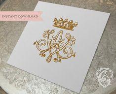 Vintage Crown Monogram AV VA Digital Download A V by tatteredvintage on Etsy