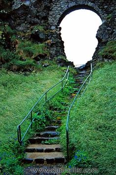 Stairs to Dunluce Castle - Dunluce Castle is a now-ruined medieval castle in Northern Ireland. It is located on the edge of a basalt outcropping in County Antrim, and is accessible via a bridge connecting it to the mainland.