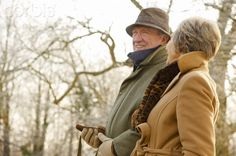 Mature couple walking in the park