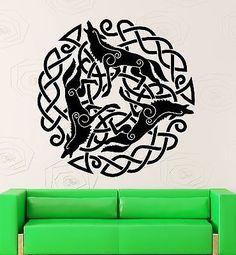 Wall Stickers Vinyl Decal Pattern Celtic Druid Ireland Irish Wolf (ig1870)