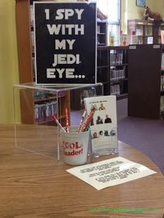 """Genius idea for star wars day scavenger hunt... hide characters with letters around the library, create worksheet with pictures of all the characters (sans letters), as kids find them, they write the corresponding letters below each character to reveal a secret message (""""READ YOU SHOULD""""). LOVE."""