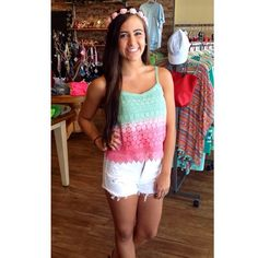 Summer outfit with flower crown headband  Ombre crop top with white high waisted shorts from Ivy boutique! 228-354-8499! @ivyboutiquems on Instagram or Facebook.com/