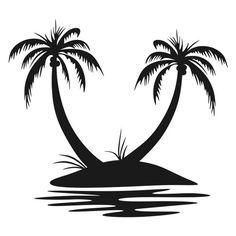Palm Tree Silhouette, Silhouette Curio, Photomontage, Palm Tree Island, Tree Drawing Simple, Island Tattoo, Tracing Art, Beach Logo, The Art Sherpa