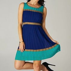 Modcloth Minuet Blue Pleated Colorblock Work Dress Colorblock dress with accordion-style green, gold, and blue pleats. Dress contains an elasticized waist. Length from shoulders to hem - 36 inches. ModCloth Dresses