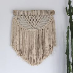 """""""""""Sol"""" macramé wall art ☼ I loved making this custom piece for a client who wanted a scaled down version similar to our bask wall hanging."""""""