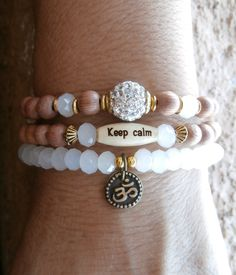 Set of 3 Yoga bracelets, Om, Keep Calm bead, Swarovski and Genuine Rosewood beads. Meditation, Reiki Charged, free shipping