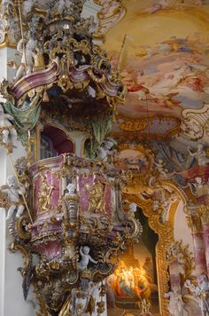 ❤ NOT Versailles but a beautiful example of Bavarian Rococo. Baroque Architecture, Beautiful Architecture, Beautiful Buildings, Architecture Details, Beautiful Places, Chateau Versailles, Palace Of Versailles, Chapelle, Kirchen