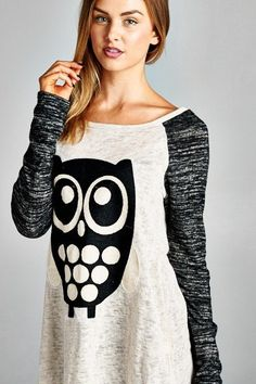 Made in USA Women's Embroidered Owl Raglan Sweater