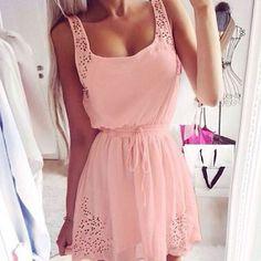 Summer Women Casual Chiffon Dress Sleeveless Cocktail Short Mini Dress Pink US 4 #New #Sundress #Casual