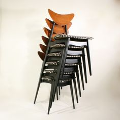 """""""Kay"""" Dining chairs designed by Fredrik Kayser in the 1950´s for Steen & Strøm, Norway."""