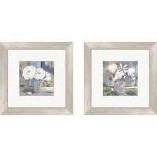 Floral Cottage Roses 2 Piece Framed Painting Print Set
