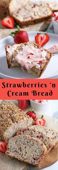 This is an extremely easy recipe for strawberry bread. Strawberry and cream bread is moist, sweet, and great for breakfast or dessert! Easy No Bake Desserts, Homemade Desserts, Köstliche Desserts, Delicious Desserts, Birthday Desserts, Quick Bread Recipes, Baking Recipes, Kitchen Recipes, Sweet Recipes