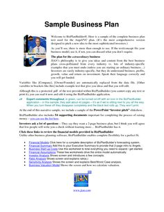 Printable Sample Business Plan Sample Form | Best Legal Forms ...