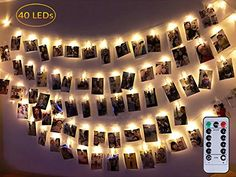 Dadiii LED Photo Clip String Lights Christmas Lights for Hanging Photos Pictures Cards Ideal Gift for Wedding Party Christmas Decoration 40 lights battery  Remote control -- Click image for more details. (This is an affiliate link) #SeasonalDecor