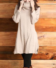 Another great find on #zulily! Mocha Cable-Knit Convertible Tunic #zulilyfinds