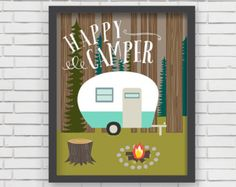 Home Decor Camping Wall Art - Happy Camper Art Print - 11x14
