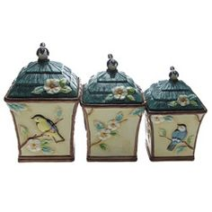 @Overstock.com - These stylish canisters from Certified International feature a unique, hand-painted Morning Song design. This three-piece canister set is as attractive as it is functional and accents any stylish kitchen decor.http://www.overstock.com/Home-Garden/Certified-International-Morning-Song-3-piece-Canister-Set/6039056/product.html?CID=214117 $74.99
