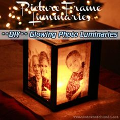 **DIY** Glowing Photo Luminaries  Read HERE ---  http://www.livinggreenandfrugally.com/diy-glowing-photo-luminaries/
