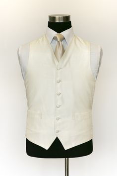 Ivory Silk Waistcoat with a Champange Tie Wedding Waistcoats, Ivory Silk, Vest, Tie, Jackets, Collection, Dresses, Fashion, Down Jackets