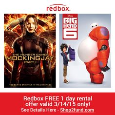 """#Movie night anyone? #Redbox is offering a free 1-night DVD rental, $1.50 off a Blu-ray rental, or video game rental when you use coupon code """"678GHGH1"""" at checkout. Just remember to return the rental before 9PM local time the following day!  Review Movies Now --> www.shop2fund.com"""