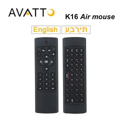 [AVATTO] K16 Hebrew/English 2.4GHz Wireless Mini Full Keyboard 10-20m IR Learning Air Mouse for Smart TV,PC,PS3,pad,Android Box #Affiliate