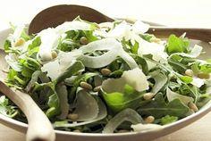 Arugula Salad with Fennel and Pine Nuts   Whole Foods Market - fennel (sliced using a mandoline slicer), arugula, toasted pine nuts, & lemon juice and olive oil dressing