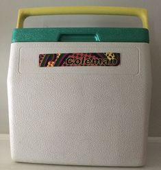 White with Green Lid and Yellow Handle. Coolers, Handle, Boat, Outdoors, Yellow, Green, Model, Vintage, Dinghy
