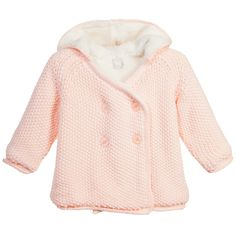 The Little Tailor Pale Pink Knitted Cotton Pram Coat at Childrensalon.com