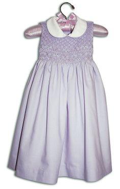 Lillie Hand Smocked & Hand Embroidered Children's Lavender Sleeveless Dress